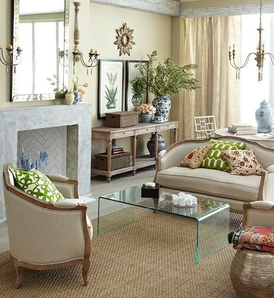 Updated Traditional Living Room Glass Acrylic