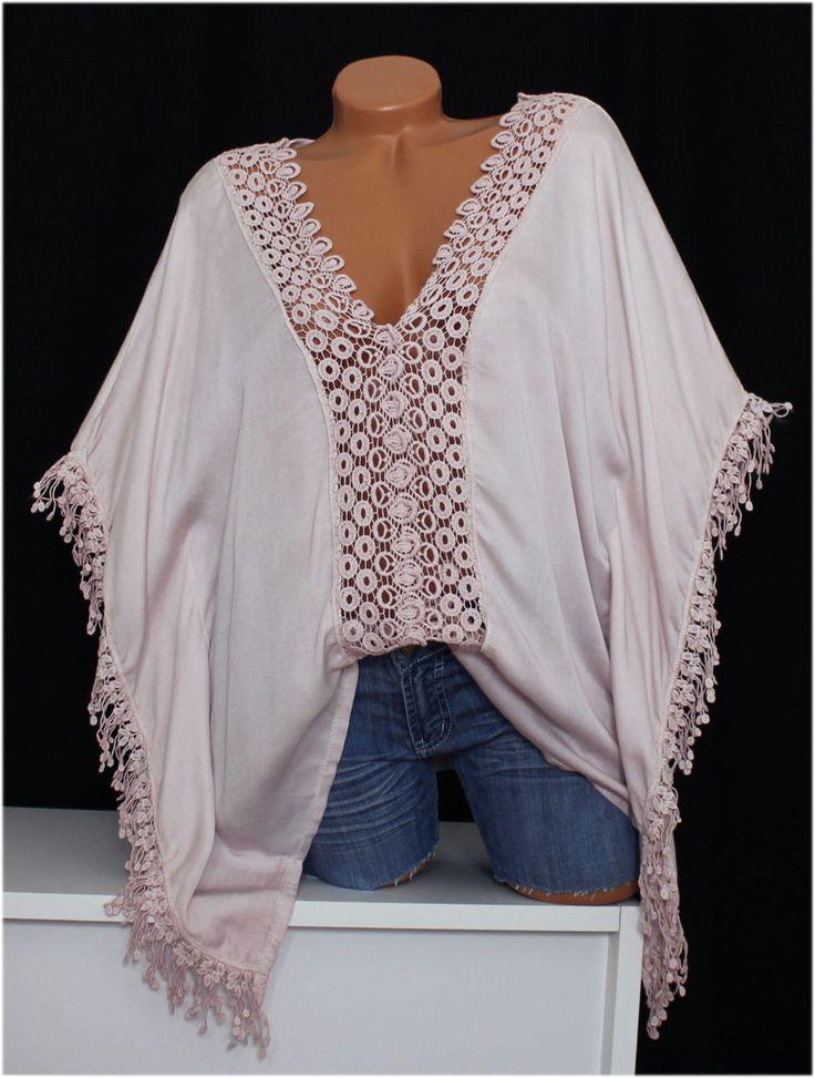 40 42 44 NEU Italy Häkel Tunika Fledermaus BLUSE hell rosa Sommer Trend | eBay