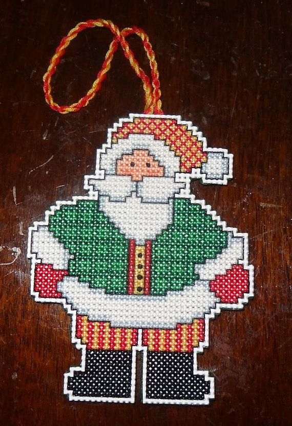 Santa Claus Ornament Christmas Finished Cross Stitch Christmas Cross Stitch Christmas Ornaments Cross Stitch Christmas Tree Ornaments To Make