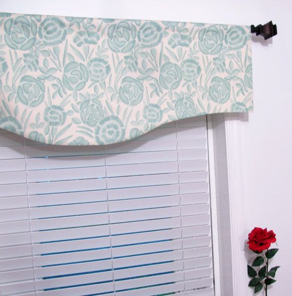 Aqua blue window curtain scalloped valance by supplierofdreams