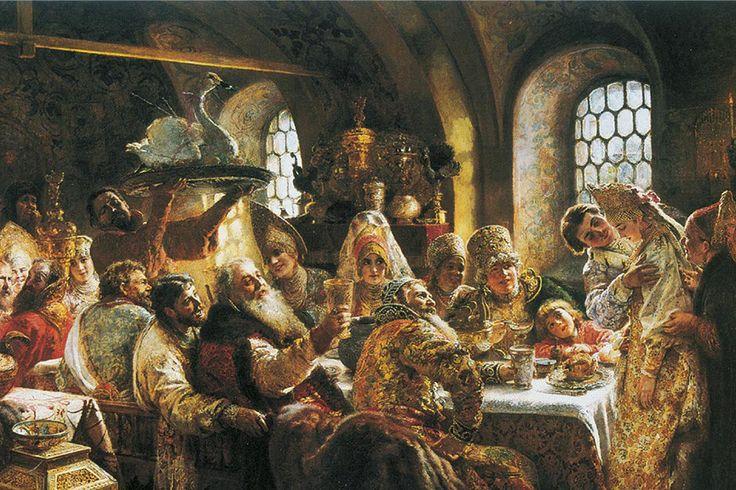 Маковский. Свадебный пир в 17в