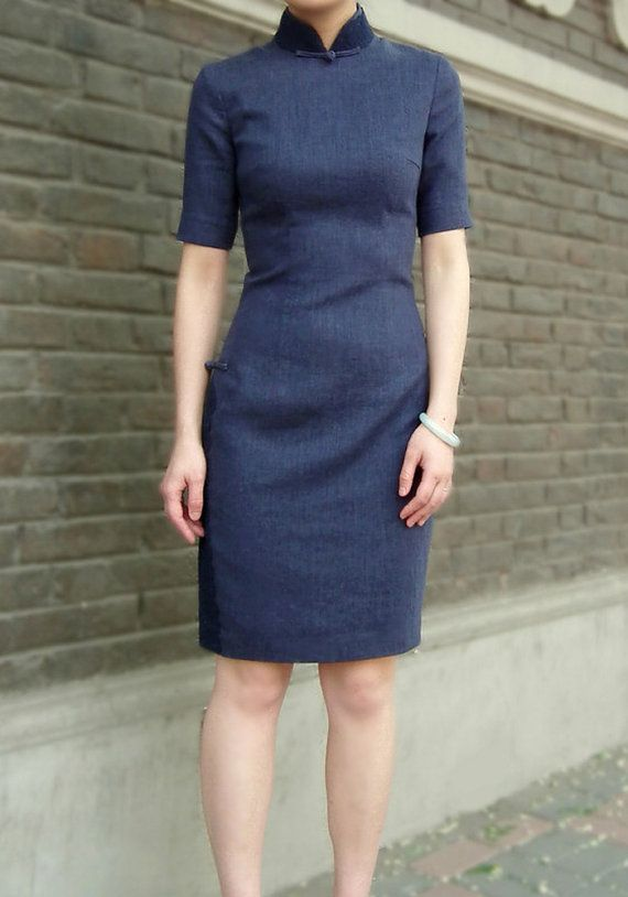 Quarter Sleeve Navy Cotton Linen Chinese Dress by RockRollRefresh, $58.00 More