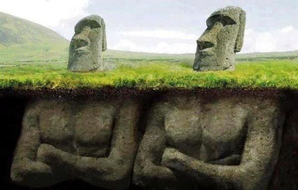 Los Moais de la Isla de Pascua... ¡tienen cuerpo!