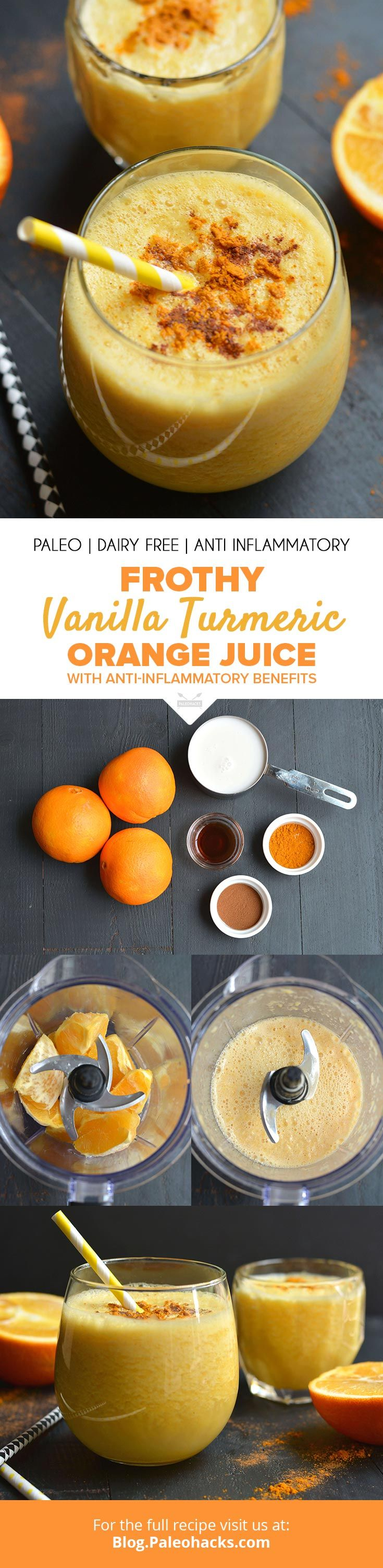 Give your immune system an anti-inflammatory boost with this vibrant vanilla turmeric orange juice! get the full recipe here: http://paleo.co/turmorangejuice