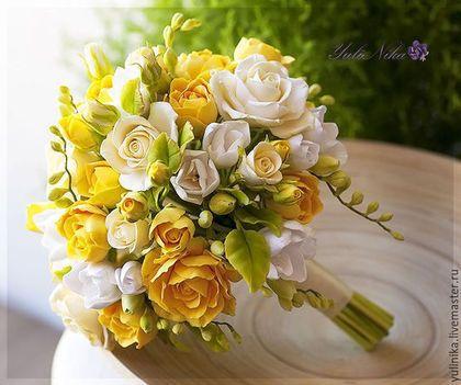Свадебные цветы ручной работы. Заказать Букет-дублер.Розы и фрезия. Юлия Коваль. Ярмарка Мастеров. Букет невесты, свадьба