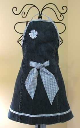 Apron made from old jeans (Could be a really cute dress with a few additions)