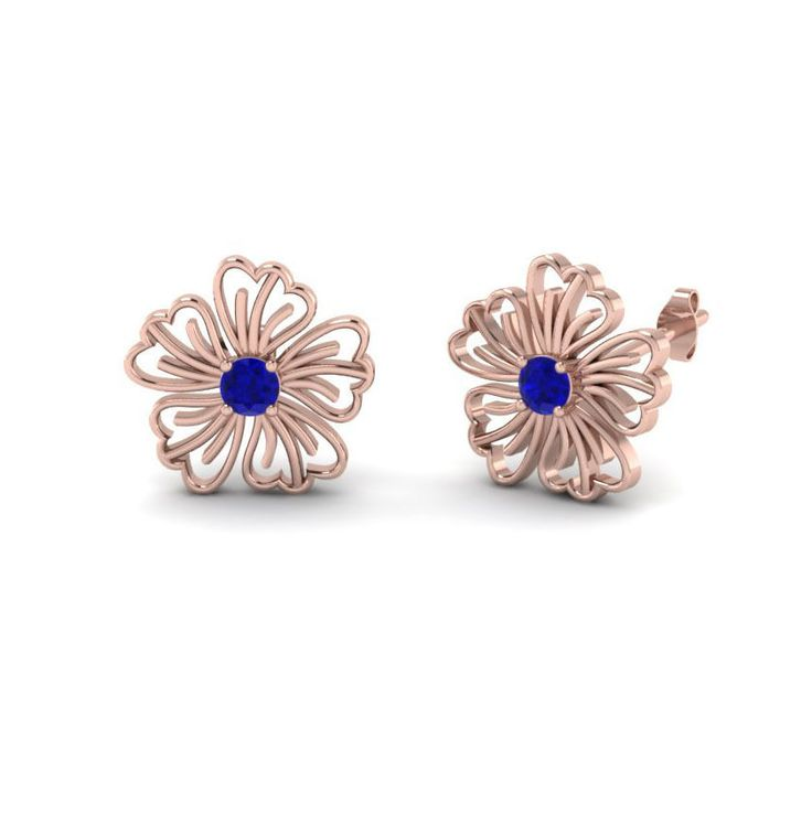 Rose Gold On 925 Sterling Silver Round Blue Sapphire Solitaire Flower Earrings #eighty #SolitaireFlowerEarrings