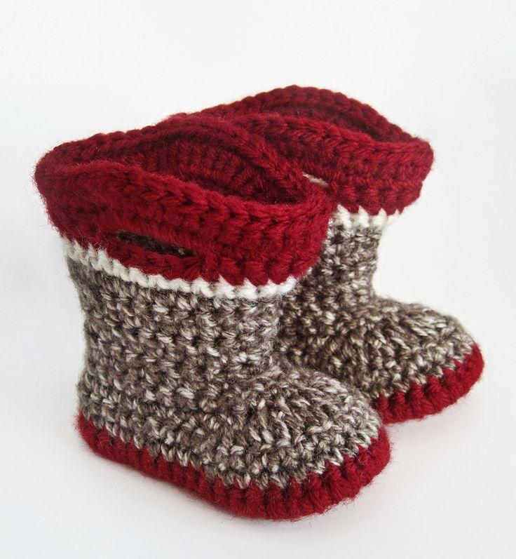 Sock Monkey Booties Knitting Pattern Free : 168 best images about Crochet: Kids Shoes on Pinterest Free pattern, Croche...