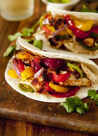 Grilled Chicken and Vegetable Fajitas - 220 cals