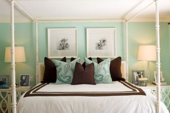 Never thought of a dark brown with sea glass green walls for Sea green bedroom designs