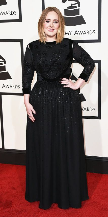 Adele in Givenchy. See what your favorite singers wore on the red carpet at the 2016 Grammy Awards.