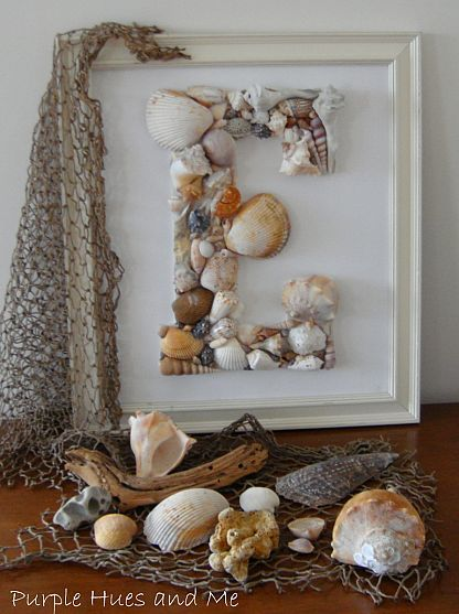 Seashell monogram in a frame. Great gift idea for shore lovers.