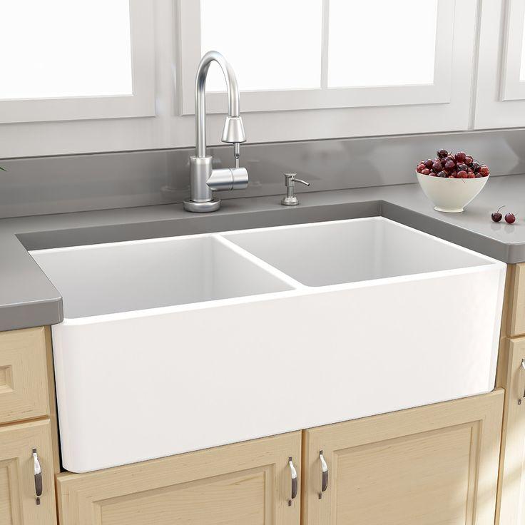 "Nantucket Sinks Farmhouse 33"" x 18"" Double Bowl Kitchen Sink with Grids | AllModern $895"