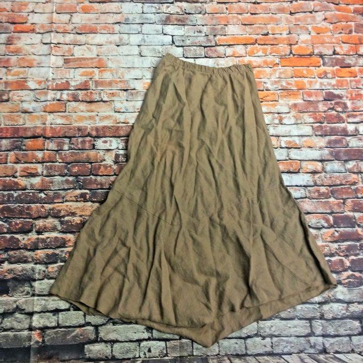 Bryn Walker Womens Sz S Tan Long Linen Boho Festival Skirt Asymmetrical #BrynWalker #Asymmetrical