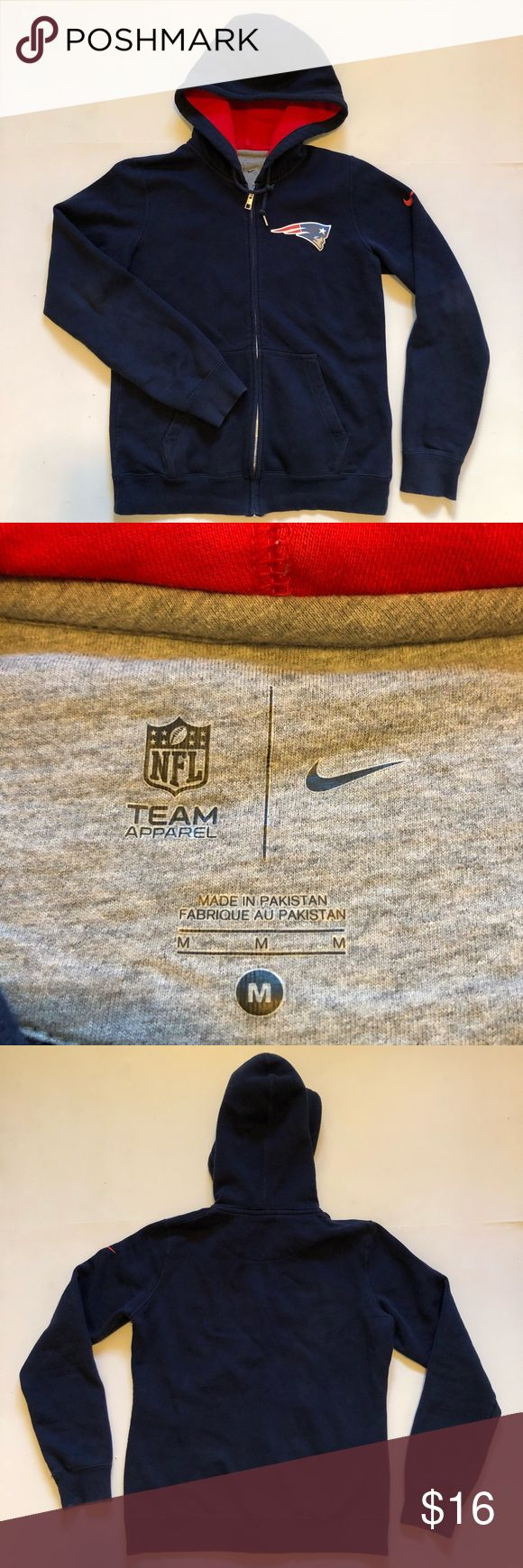 """nike new england patriots boys size medium size boys youth medium in good condition ( armpit to armpit 19.5"""" and shoulder to bottom 23"""") Nike Shirts & Tops Sweatshirts & Hoodies"""