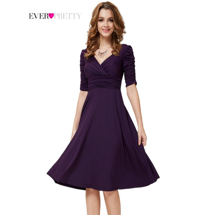 Cocktail Dresses Ever Pretty 2017 AS03632 3/4 Sleeves Hot Selling V Neck Pleated High Stretch Plus Size  Short Dresses Women