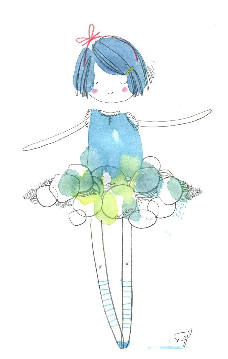 doll nuage, aquarelle, Cecile Hudrisier
