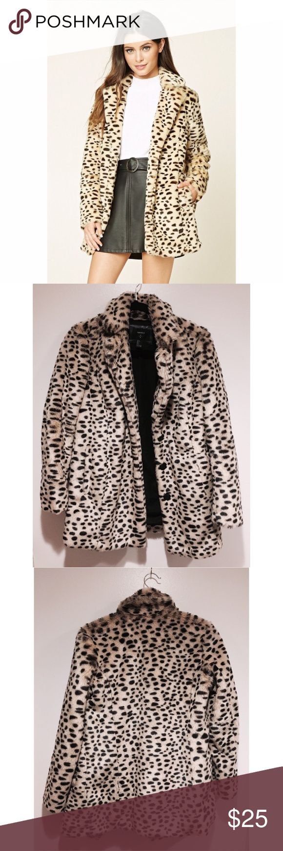 F21 Dalmatian Cheetah Faux Fur Coat - S Worn only a few times, but the inner lining was seen too tight for my shoulder. The inner liner has ripped in this area. See photos. Model upon request!   OFFERS WELCOME 😊 Forever 21 Jackets & Coats