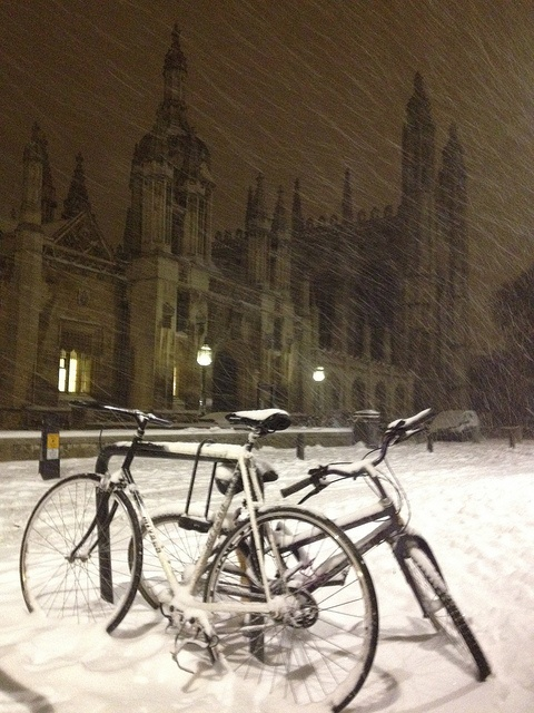 Bikes in the snow outside Kings College
