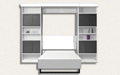 """Модель Evolution-2 — еще один пример разумного использования пространства. Днем это комната с четырьмя практично закрытыми шкафами. Открытыми остаются по две полочки в центре - можно поставить изящные вещицы.  Вечером """"умная мебель"""" превращает комнату в уютную спальню. Расходятся в стороны центральные стенки шкафа, и плавно выдвигается кровать с ортопедическим матрасом."""