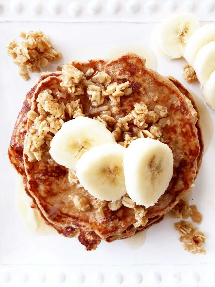 I didn't use any sugar in the pancake batter. Instead I got a touch of sweetness by adding in some Wallaby Organic Vanilla Bean Greek Yogurt for a boost of protein, and Vans Simply Delicious Granola - Soft Baked Banana Nut Clusters. Both are gluten-free and have less sugar in them. Plus, the granola clusters already have that banana nut taste I'm looking for. Perfect!