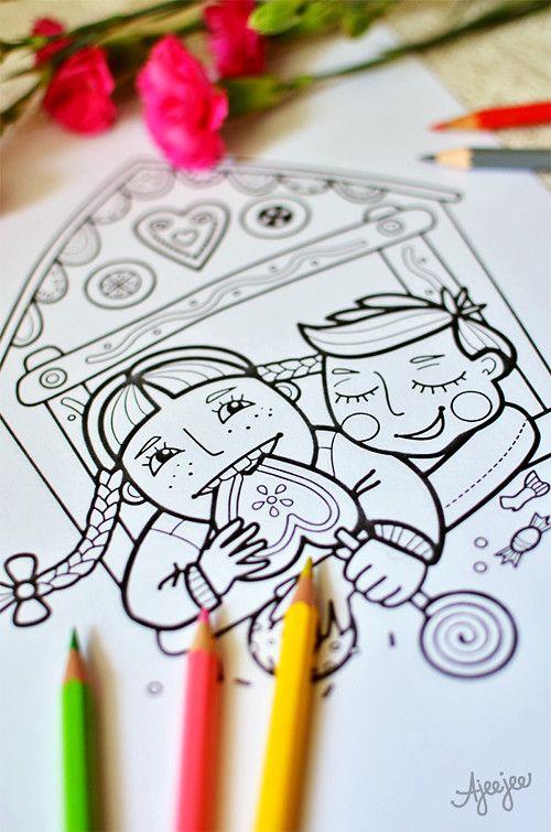 Coloring page by Ajeejee Jeníček a Mařenka mlsají – omalovánková ilustrace / Zboží prodejce Ajeejee | Fler.cz