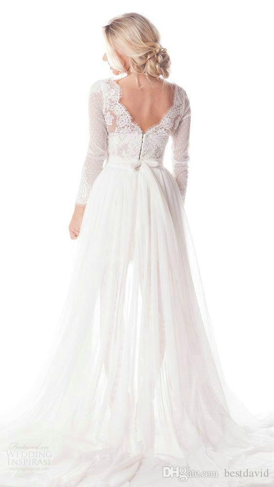 2017 Olia Zavozina Beach Wedding Dresses with Tulle Overskirt Lace Illusion Neckline Long Sleeve Beaded Belt Mini Corset Bridal Gow