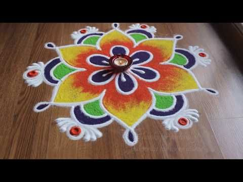 Freehand flower rangoli designs with colours - YouTube