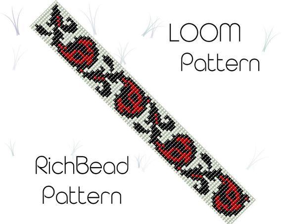 This Flower bead loom bracelet pattern, PDF seed beaded