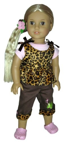 """Pink Clogs, Animal Print Top, Pants, Pink Tee, and Scrunchie. Doll Clothes Fit 18"""" American Girl Doll. $22.99"""