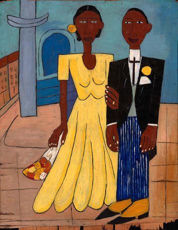 Wedding Couple (c. 1940) by  William H. Johnson (1901-1970), American (Smithsonian)