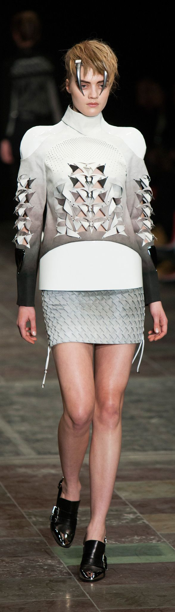 Sculptural shoulders with symmetrical 3D cut & fold pattern detail; structured fashion; creative cuts // Anne Sofie Madsen