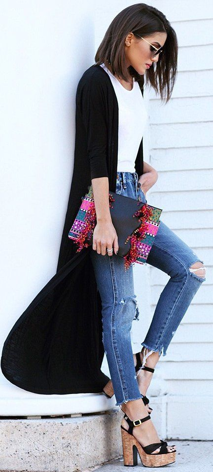 #fall #street #style | Black And White + Denim + Pop Of Color