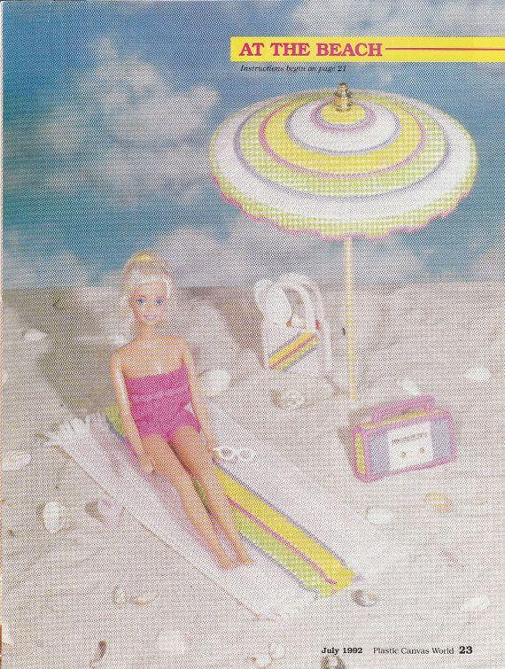 Barbie Beach Supplies in Plastic Canvas