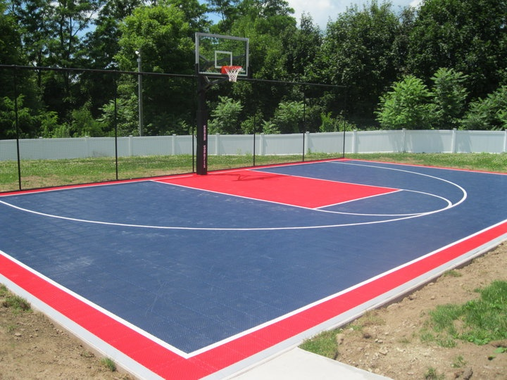 11 best backyard basketball courts images on pinterest for Homemade indoor basketball court