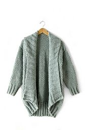 """This cardi is oversized, with a drop shoulder, cocoon shape - perfect to wrap up in for fall and winter! Knit in Bernat Roving, this intermediate pattern is worked in an Irish Moss stitch pattern. """
