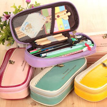 korean multi function pandent PU leather pencil case big capacity pencil bag material escolar school supplies
