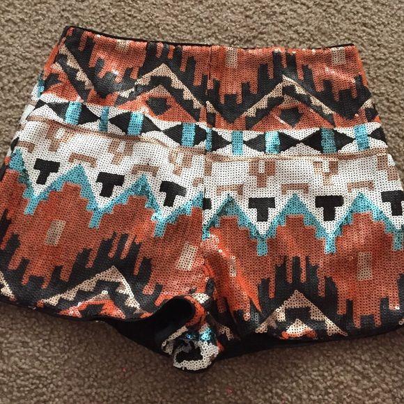 Tribal shorts sequin Sequin tribal shorts hight waisted Shorts Cargos