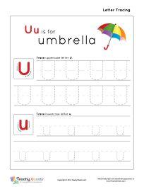 uu is for umbrella preschool tracing letter u u worksheet for more free worksheets visit us at. Black Bedroom Furniture Sets. Home Design Ideas