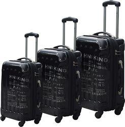 Σετ 3 Βαλίτσες Ταξιδιού Trolley ABS με Τηλεσκοπικό Χερούλι, Ροδάκια & Κλείδωμα Ασφαλείας με θέμα Πόλεις εξωτερικού σε Μαύρο χρώμα - Cb