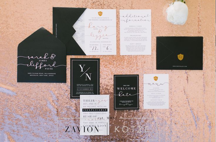 beautiful wedding stationary by Chrystalace. They are the best in the industry. rose gold, black, designer, art