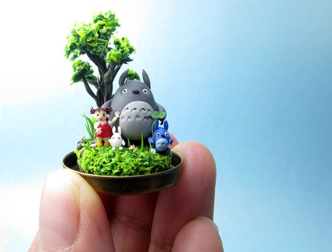 Micro Clay The three Totoros - Oh Totoro, Chuu Totoro, and Chibi Totoro and Mei ( Inspired by My Neighbor Totoro movie) by JulieCuteClay on Etsy https://www.etsy.com/listing/209567351/micro-clay-the-three-totoros-oh-totoro