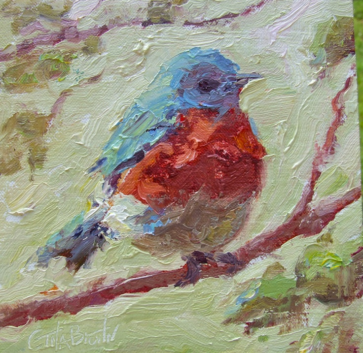small impressionistic painting of a bluebird ~ Gina Brown Art