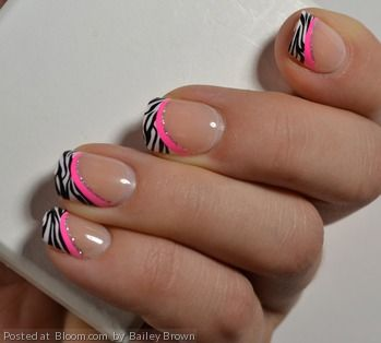 The zebra print makes this French mani so fun and perfect for prom!