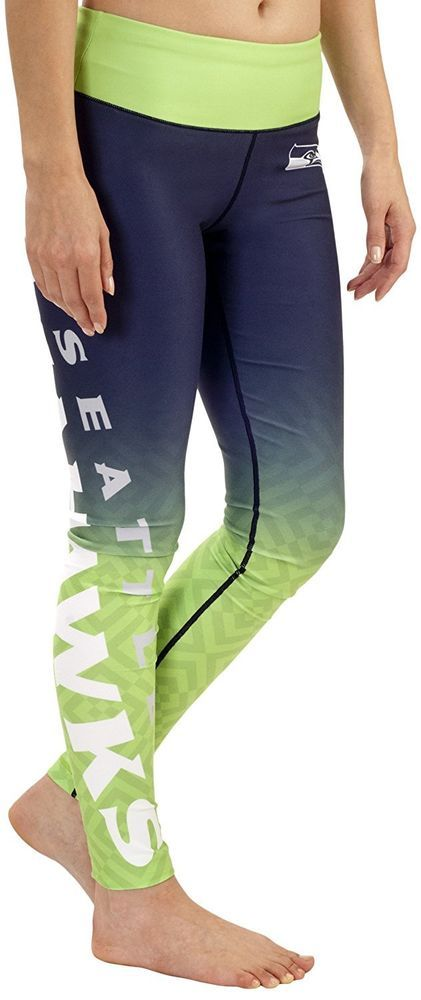 NFL Seahawks Woman's Seattle Football Sublimation Gradient Leggings #NFL