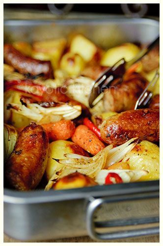 Lazy Day Casserole - sausage, potatoes, carrots, peppers, onions, Italian seasoning.