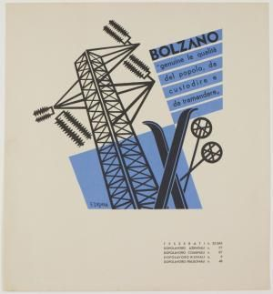 Fortunato Depero, design representing the city of Bolzano for a book produced for the Fascist After Work Organization, 1938.