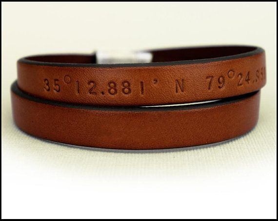 Men's Personalized Leather Bracelet, GPS Coordinates Bracelet, Leather Wrap Bracelet, Long Distance Relationship Gift, Unisex Bracelet