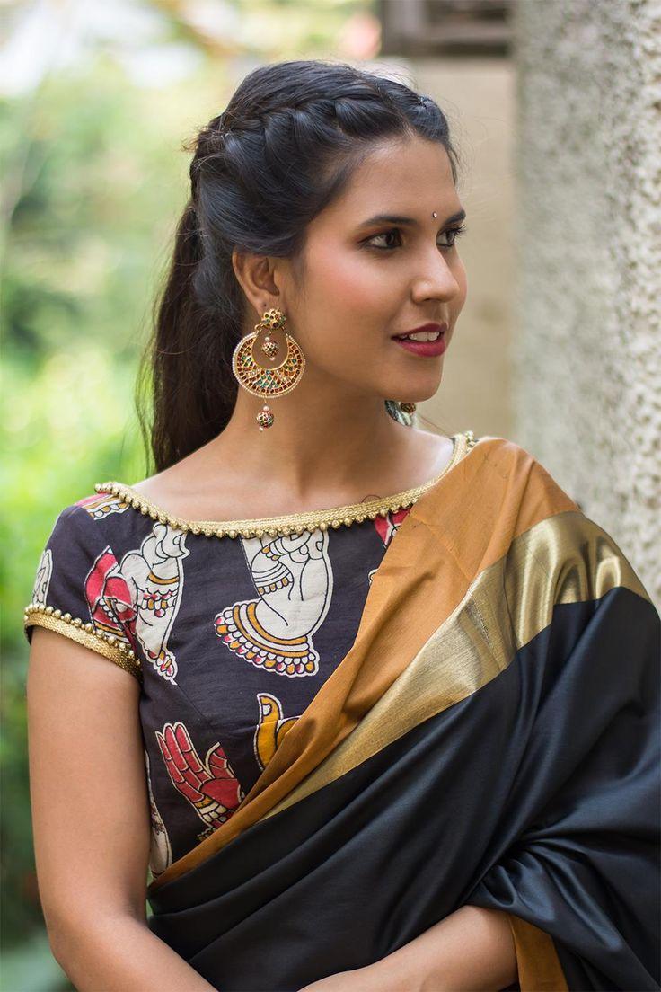 Black Kalamkari cotton sheer back blouse #blouse #saree #houseofblouse #desi #indianwear #kalamkari #black #cotton #sheerback #net