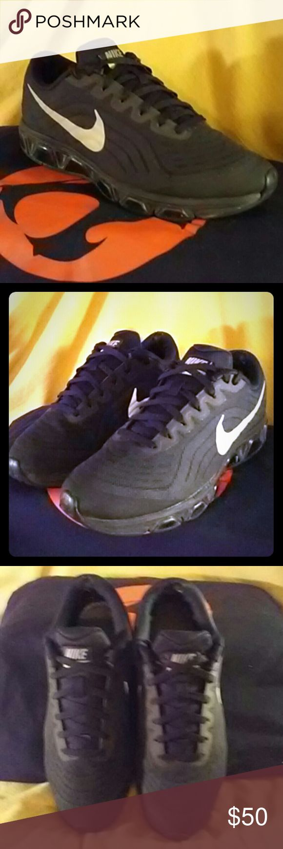 Sold Nike air max Black nike tailwind 6. Good condition, only flaw is small hole on the inside of each heel. Excellent all terrain running shoes. Nike Shoes Athletic Shoes